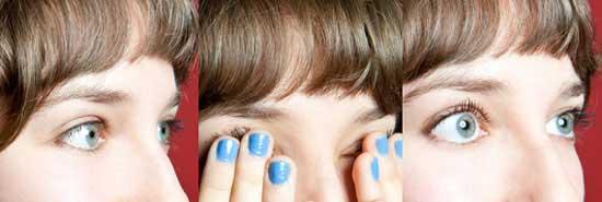 Самый простой и не затратный способ сделать глаза распахнутыми – надавить кончиками пальцев у основания роста ресниц