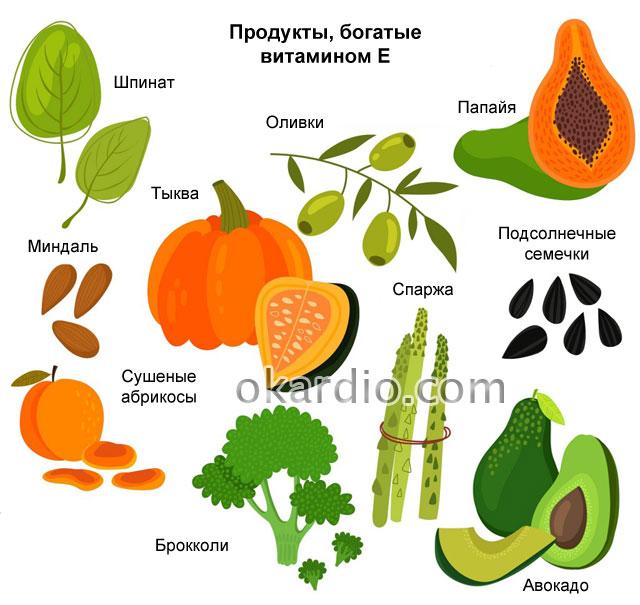 продукты, богатые витамином Е