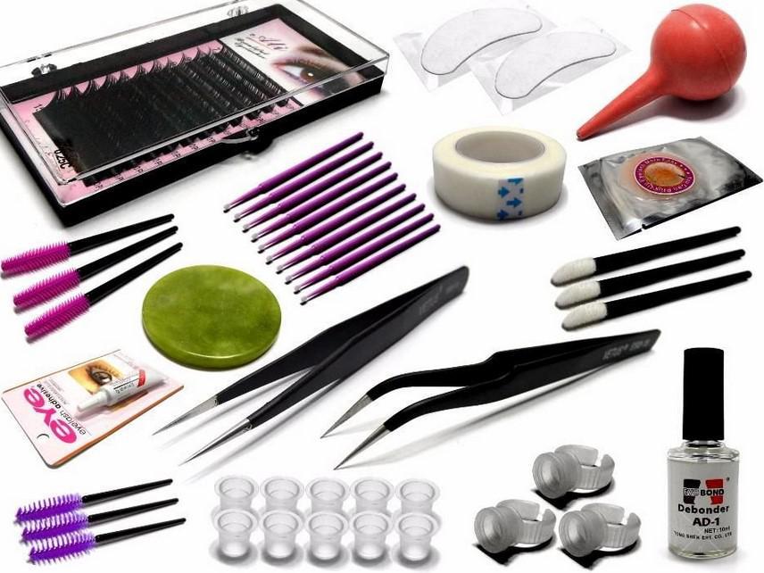 Базовый набор материалов и инструментов для наращивания ресниц
