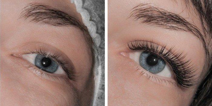 Эффект до и после наращивания ресниц