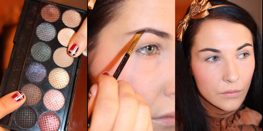 Чтобы заполнить участки с редкими волосами, используйте тени и кисточку со скошенным ворсом
