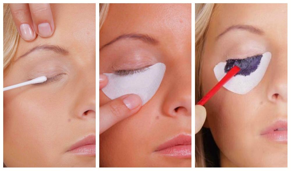 Процесс самостоятельного окрашивания ресниц: сначала действия совершаем над одним глазом, затем приступаем к другому.