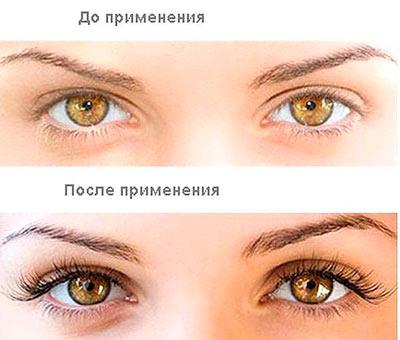 Ресницы и брови до и после применения персикового масла