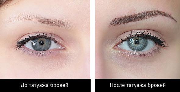 Татуаж бровей до и после