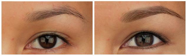 На фото татуаж методом мягкой растушевки до и после
