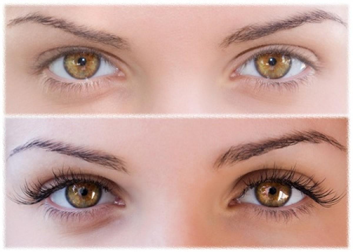 Глаза до и после наращивания