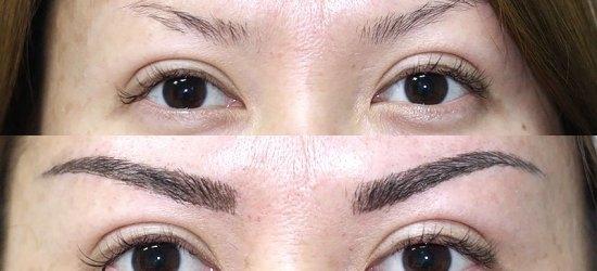 На фото можно сравнить вид бровей до и после процедуры