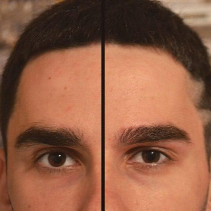 Стрижка бровей: до и после