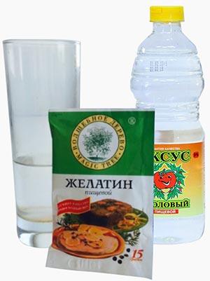 стакан воды, пачка желатина, бутылка уксуса