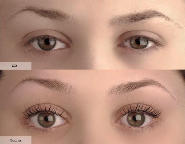 На фото видна разница между ресницами до и после ламинирования
