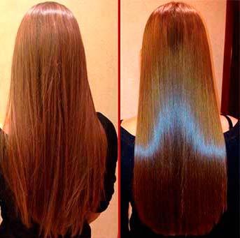 как выглядят волосы до и после глазирования волос