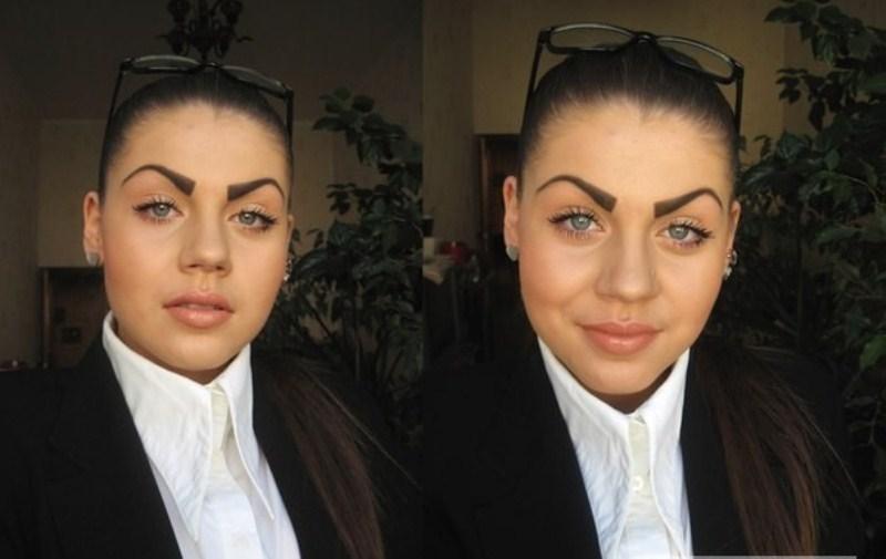 Так называемые злые брови или брови-запятые в интернете часто становились поводом для насмешек и обсуждения неграмотного макияжа. Действительно, они портят лицо, согласны?