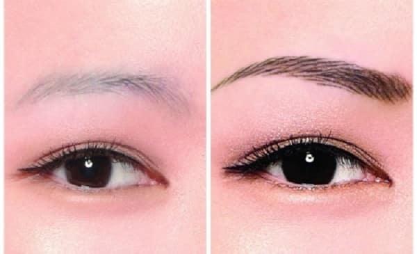 Фото до и после: шотирование для затемнения бровей