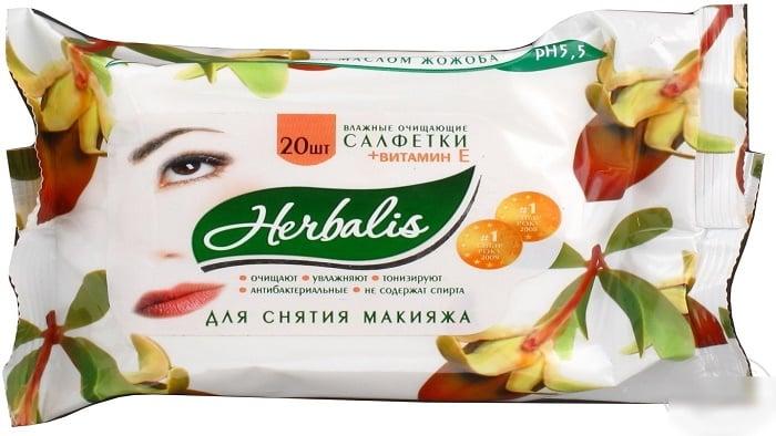Влажные очищающие салфетки для снятия макияжа Herbalis