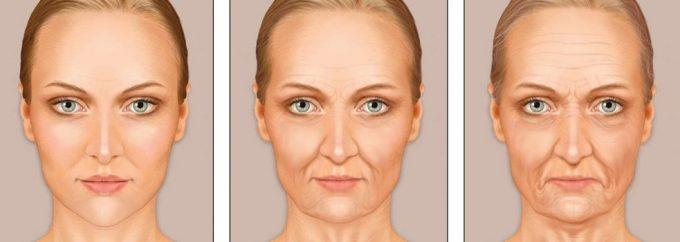 кожа щек в 30, 45 и 55 лет