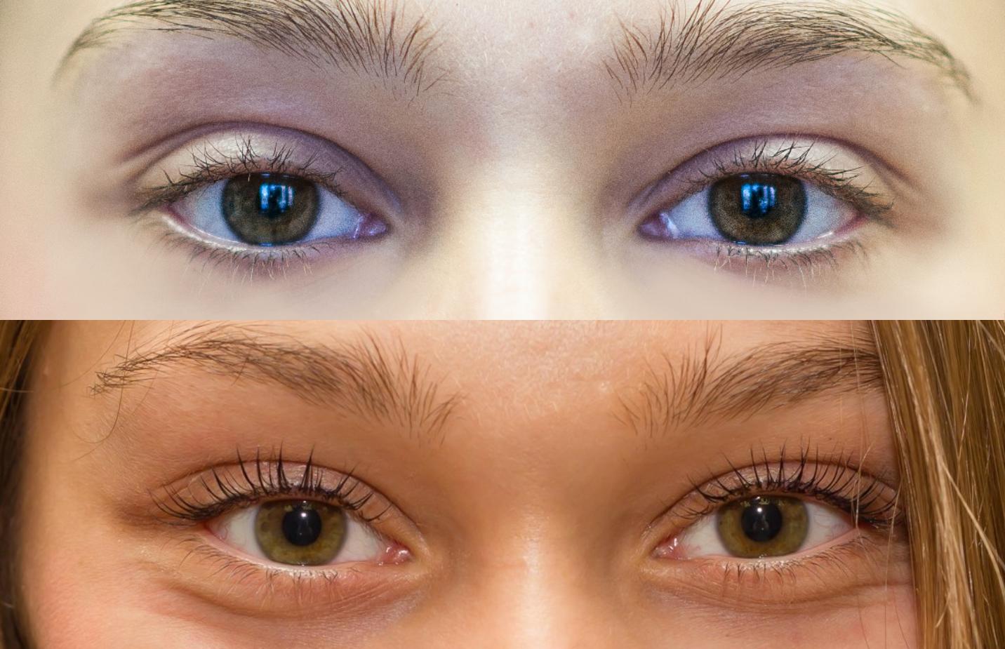 На фото: до и после кератирования