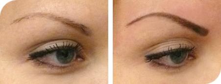 до и после окрашивания бровей карандашом 2