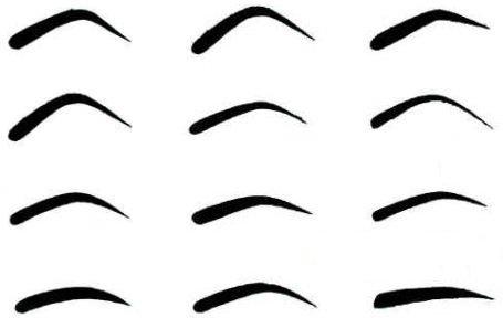 Рисунок 1. Формы бровей для трафарета