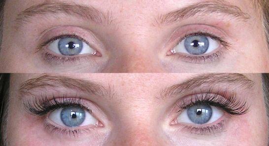 до и после приклеивания ресниц