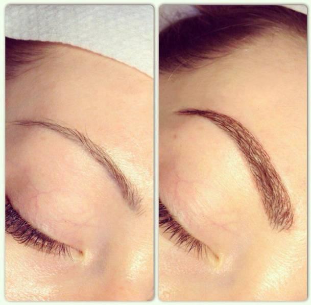 волосковое наращивание бровей фото до и после